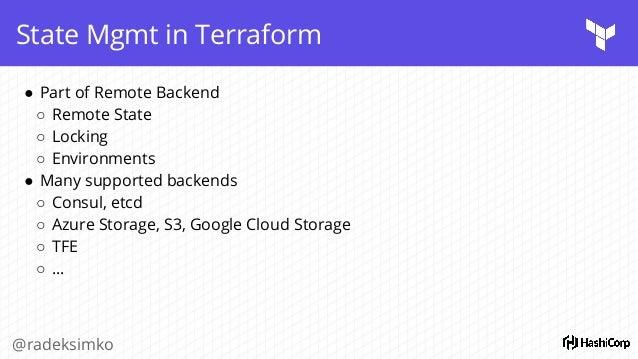 "Terminal @radeksimko terraform { backend ""s3"" { bucket = ""my-tfstate-prod"" key = ""terraform.tfstate"" region = ""eu-west-2"" ..."