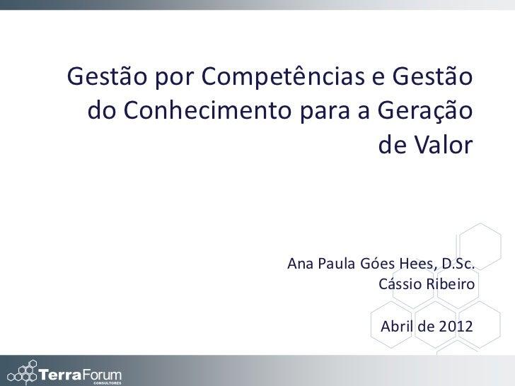 Gestão por Competências e Gestão do Conhecimento para a Geração                        de Valor                 Ana Paula ...