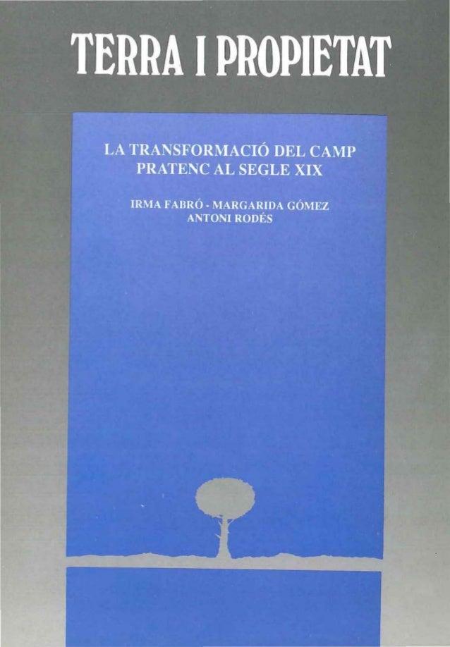 TERRA 1 PROPIETAT:  LA TRANSFORMACIÓ DEL CAMP PRATENC AL S. XIX