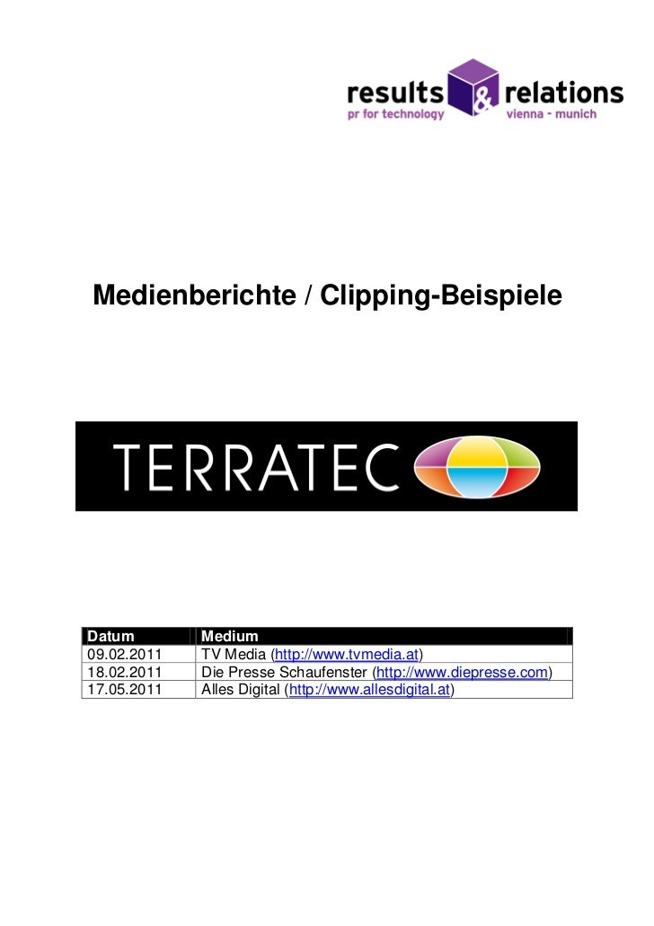 Medienberichte / Clipping-BeispieleDatum        Medium09.02.2011   TV Media (http://www.tvmedia.at)18.02.2011   Die Presse...