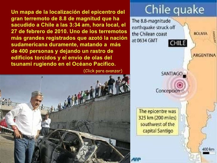 Un mapa de la localización del epicentro del gran terremoto de 8.8 de magnitud que ha sacudido a Chile a las 3:34 am, hora...