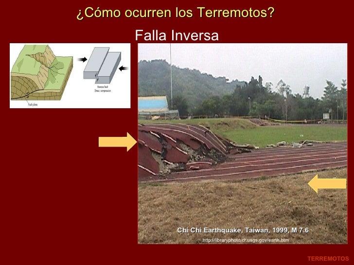 ¿Cómo ocurren los Terremotos? Falla Inversa Chi Chi Earthquake, Taiwan, 1999, M 7.6 TERREMOTOS http://libraryphoto.cr.usgs...