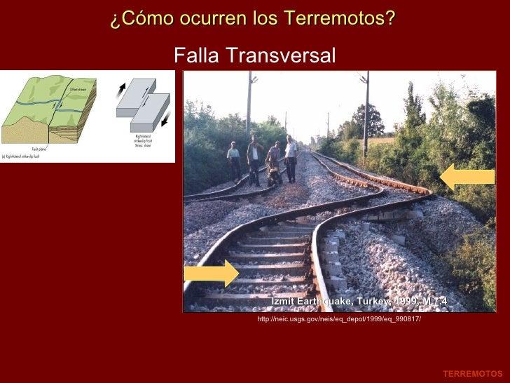 Falla Transversal Izmit Earthquake, Turkey, 1999, M 7.4 TERREMOTOS http://neic.usgs.gov/neis/eq_depot/1999/eq_990817/ ¿Cóm...