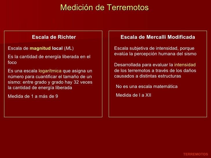 Medición de Terremotos Escala de Richter Escala de Mercalli Modificada Escala de  magnitud  local  ( M L)  Es la cantidad ...