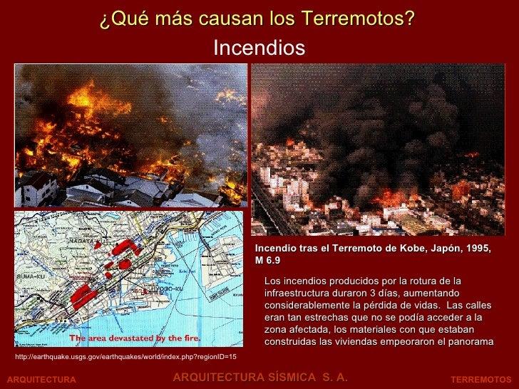 Incendios TERREMOTOS ARQUITECTURA SÍSMICA  S. A. ARQUITECTURA ¿Qué más causan los Terremotos? http://earthquake.usgs.gov/e...