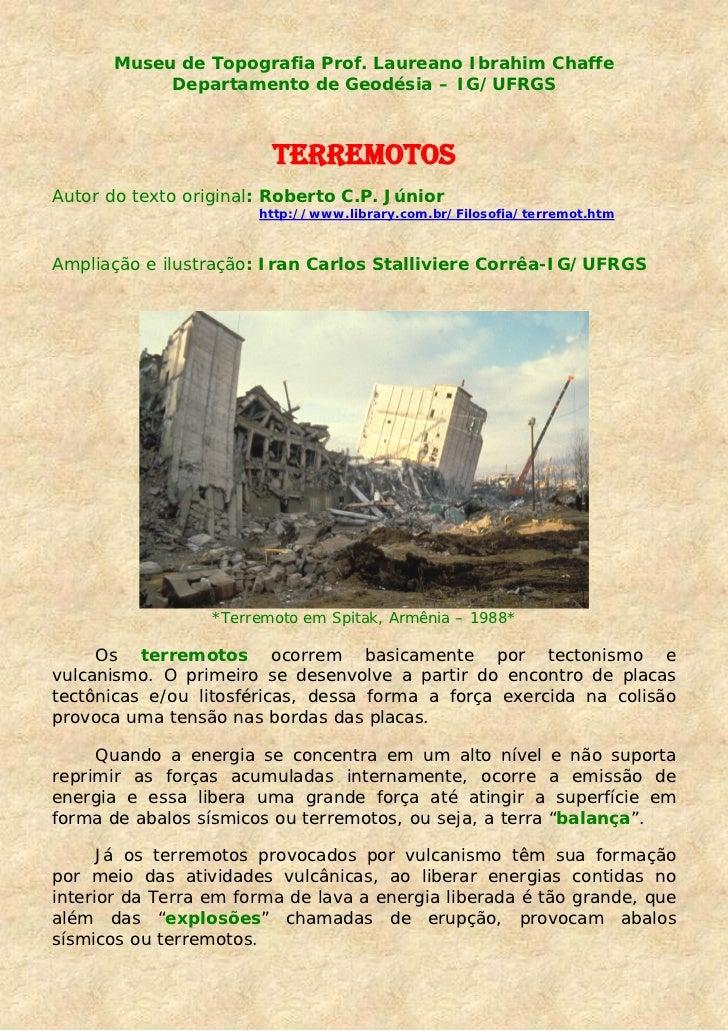 Museu de Topografia Prof. Laureano Ibrahim Chaffe            Departamento de Geodésia – IG/UFRGS                         T...