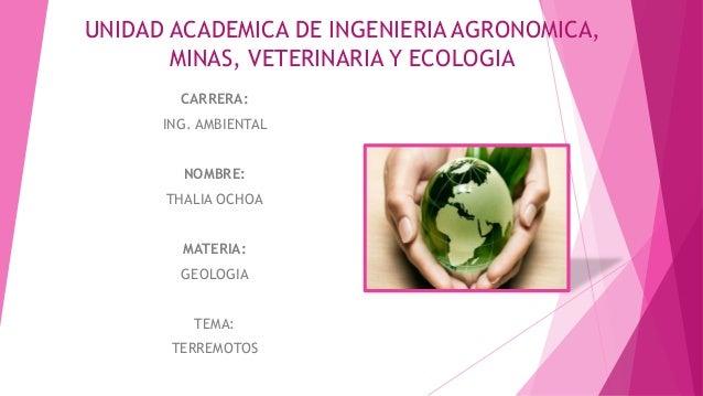 UNIDAD ACADEMICA DE INGENIERIA AGRONOMICA, MINAS, VETERINARIA Y ECOLOGIA CARRERA: ING. AMBIENTAL NOMBRE: THALIA OCHOA MATE...