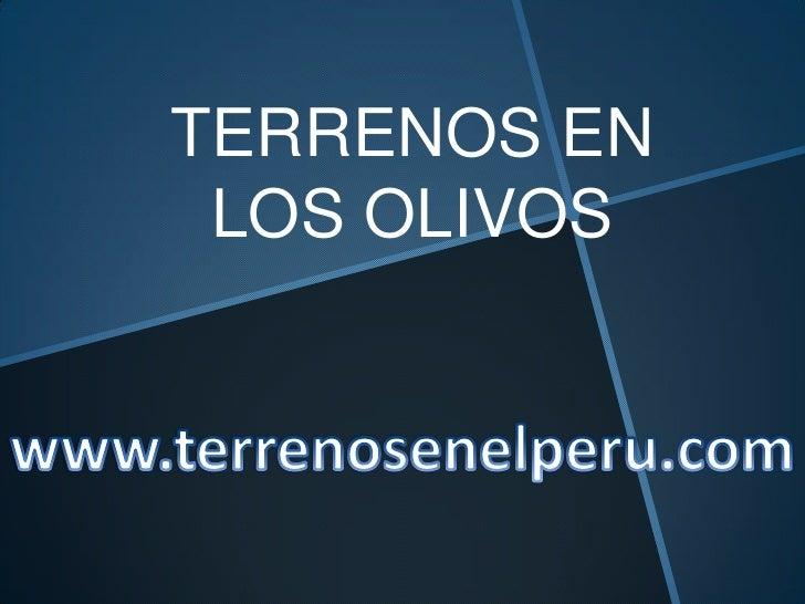 TERRENOS EN LOS OLIVOS