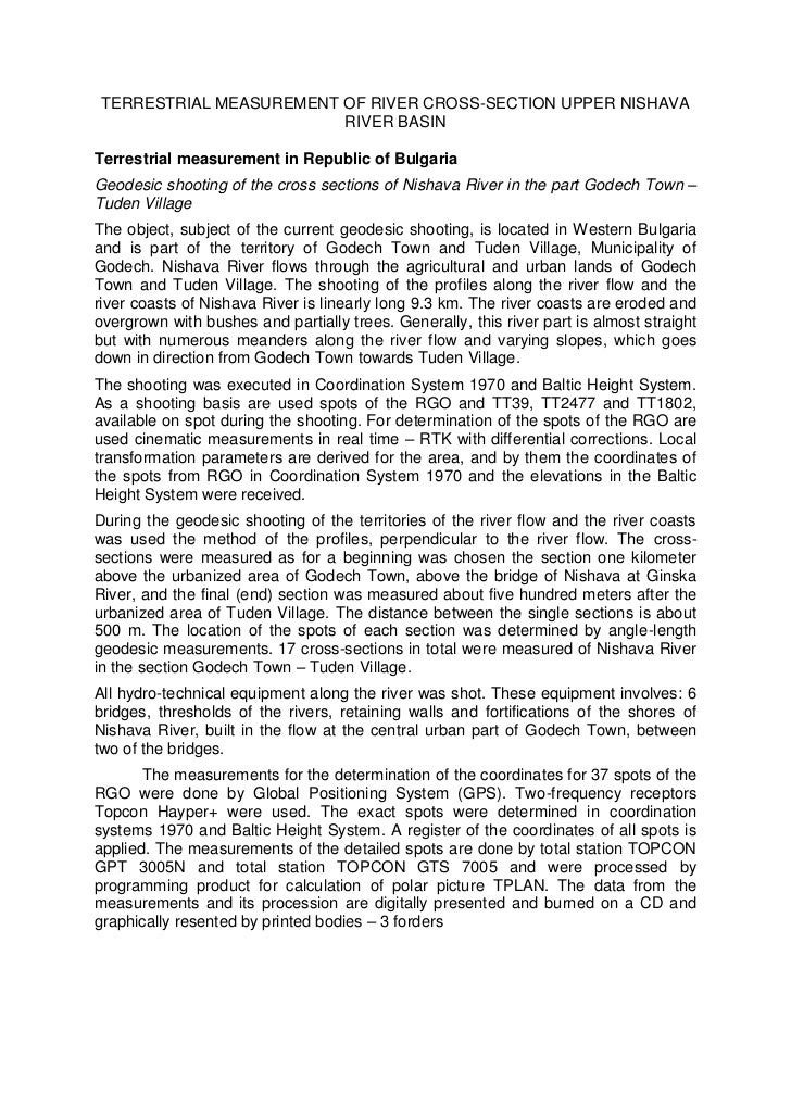 TERRESTRIAL MEASUREMENT OF RIVER CROSS-SECTION UPPER NISHAVA                        RIVER BASINTerrestrial measurement in ...