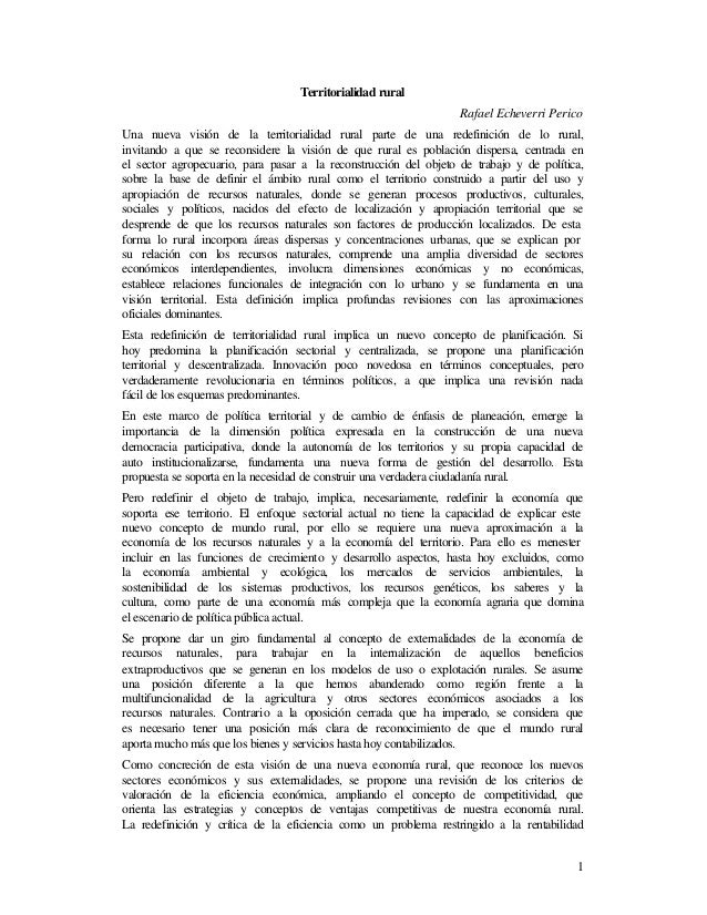 Territorialidad rural                                                                  Rafael Echeverri PericoUna nueva vi...