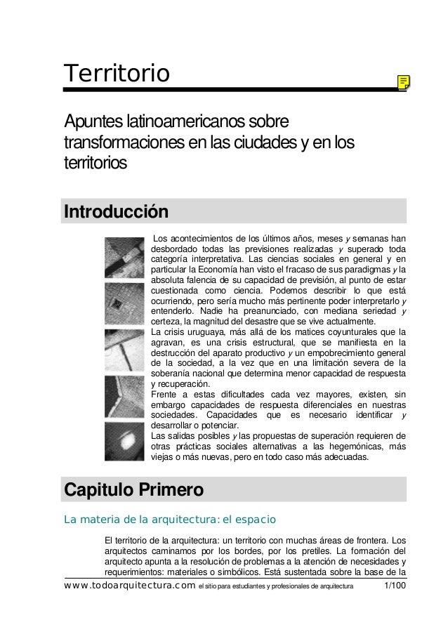 www.todoarquitectura.com el sitio para estudiantes y profesionales de arquitectura 1/100 Territorio Apuntes latinoamerican...