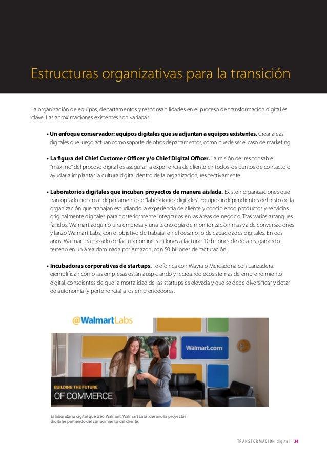 T R ANS F O RMA C I ÓN d i g i t a l 34  La organización de equipos, departamentos y responsabilidades en el proceso de tr...