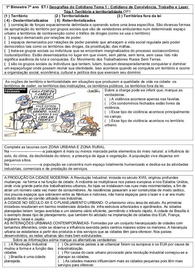 1º Bimestre 7º ano ET.I Geografias do Cotidiano Tema 1 : Cotidiano de Convivência, Trabalho e Lazer                       ...