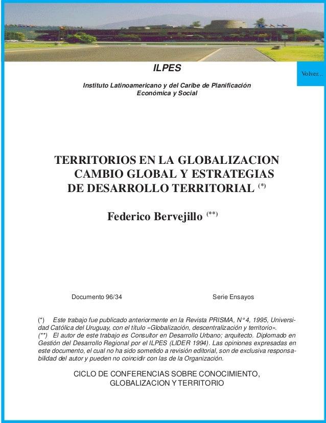 Volver...ILPESInstituto Latinoamericano y del Caribe de PlanificaciónEconómica y SocialTERRITORIOS EN LA GLOBALIZACIONCAMB...