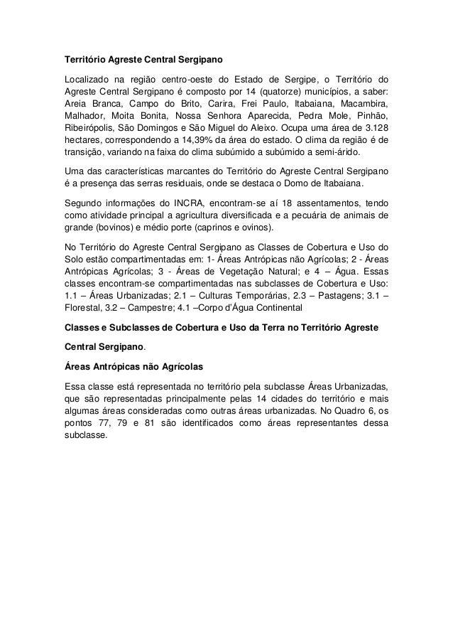 Território Agreste Central Sergipano Localizado na região centro-oeste do Estado de Sergipe, o Território do Agreste Centr...