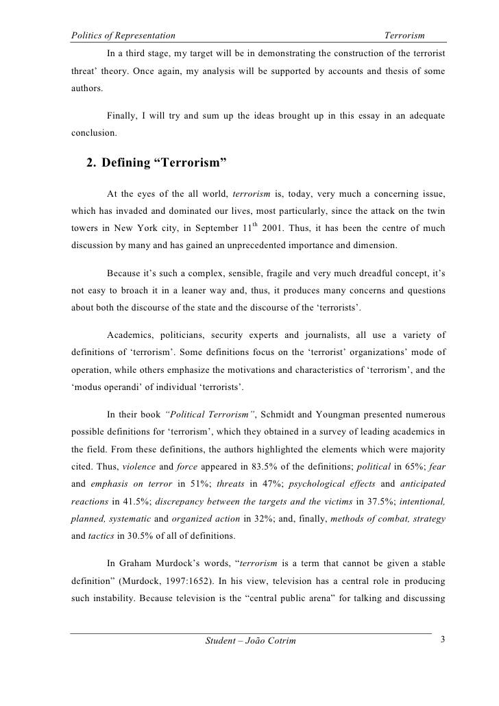Terrorism essays