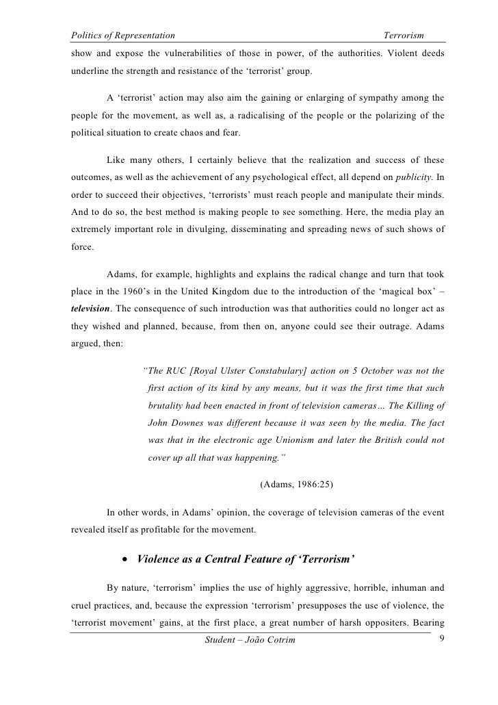 essay on terorrism Essay on terrorism posted by ultius on friday, 17 may 2013 in sample work font size: larger smaller hits: 858 0 comments more sharing servicesbookmark.