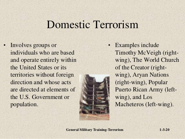 domestic terrorism in the united states Al-qaeda's attacks on september 11th, 2001, and the subsequent wars born out of the united states' response to these attacks have meant that domestic terrorism is less widely discussed topic, this does not mean that domestic terrorist groups do not present a serious threat to the united states and its citizens.
