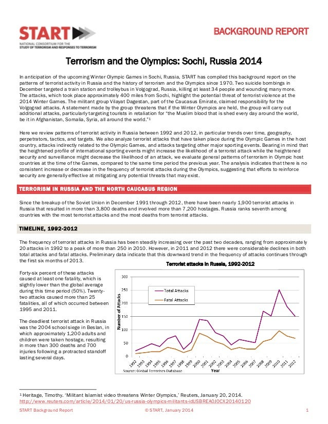 BACKGROUND REPORT Terrorism and the Olympics: Sochi, Russia 2014 In anticipation of the upcoming Winter Olympic Games in S...