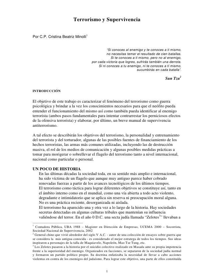 """Terrorismo y Supervivencia   Por C.P. Cristina Beatriz Minolli1                                                        """"Si..."""