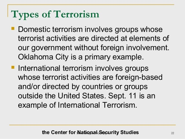 domestic terrorist groups essay Nor, significantly, does federal law prescribe a formal designation process for domestic terrorist organizations, as it does for foreign terrorist organizations  photo essays news & events .