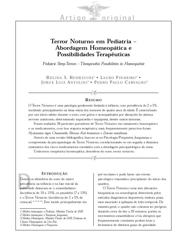 Artigo original D INTRODUÇÃO Dentre os distúrbios do sono de maior prevalência na infância e na fase inicial da puberdade ...