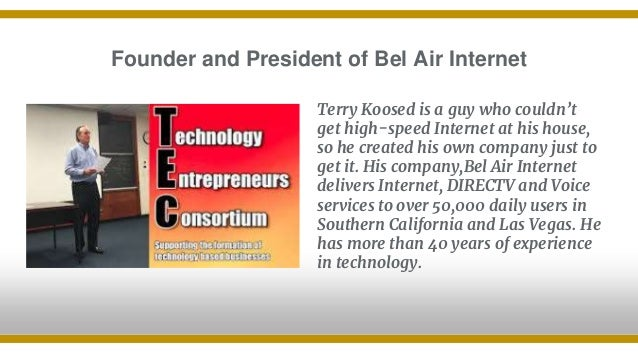 Founder and President of Bel Air Internet Terry Koosed is a guy who couldn't get high-speed Internet at his house, so he c...