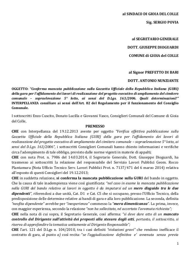 1 al SINDACO DI GIOIA DEL COLLE Sig. SERGIO POVIA al SEGRETARIO GENERALE DOTT. GIUSEPPE DIOGUARDI COMUNE di GIOIA del COLL...