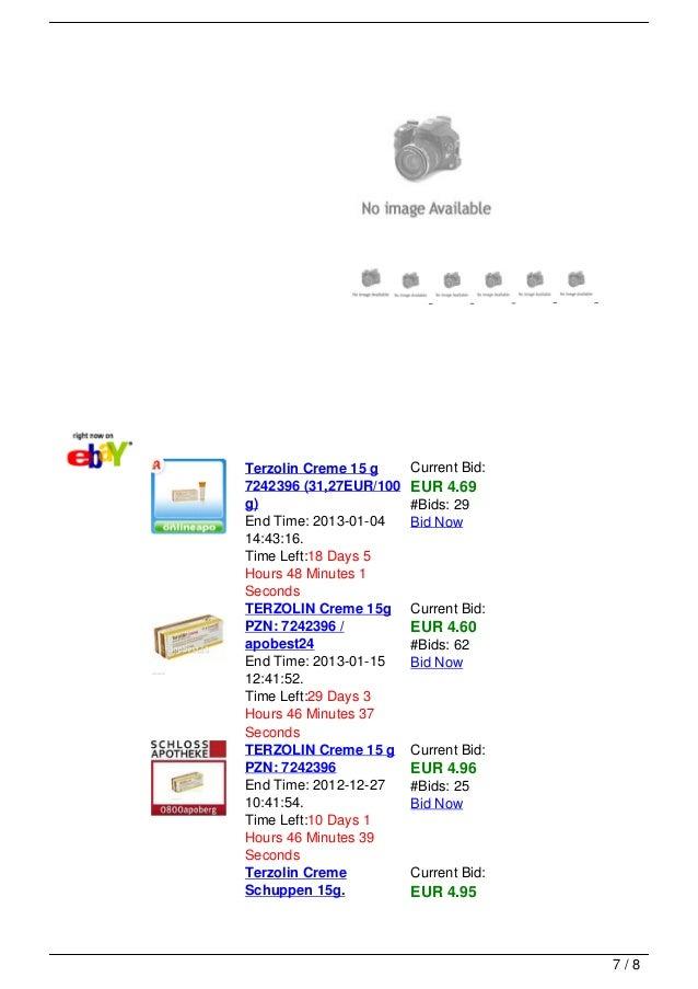 Terzolin Creme 15 g     Current Bid:7242396 (31,27EUR/100   EUR 4.69g)                      #Bids: 29End Time: 2013-01-04 ...