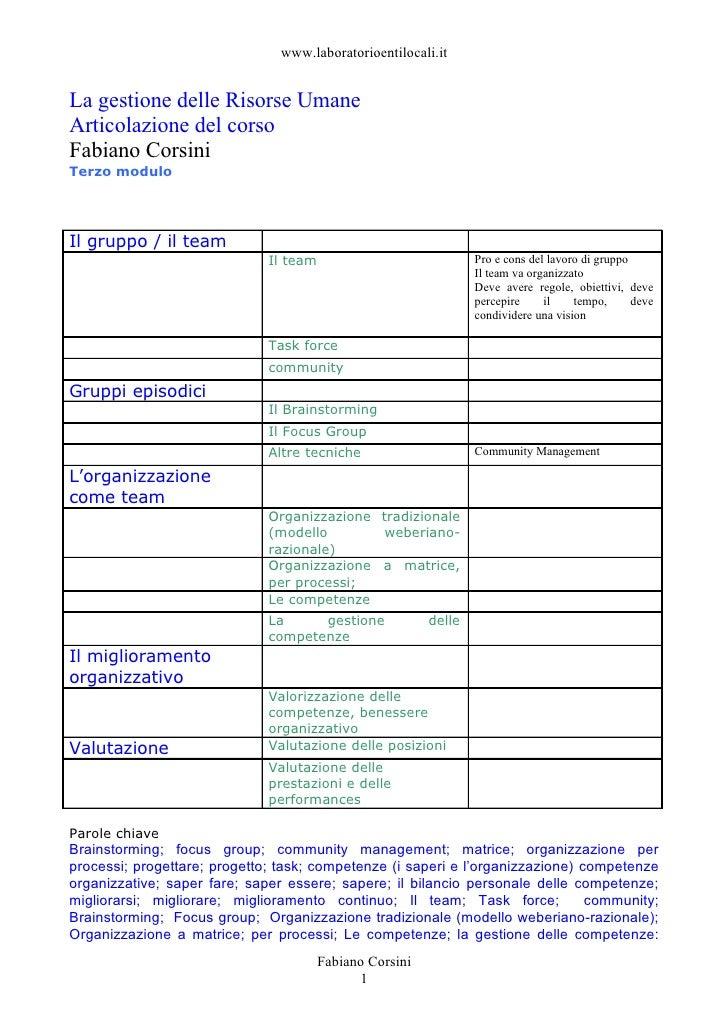 www.laboratorioentilocali.it   La gestione delle Risorse Umane Articolazione del corso Fabiano Corsini Terzo modulo     Il...