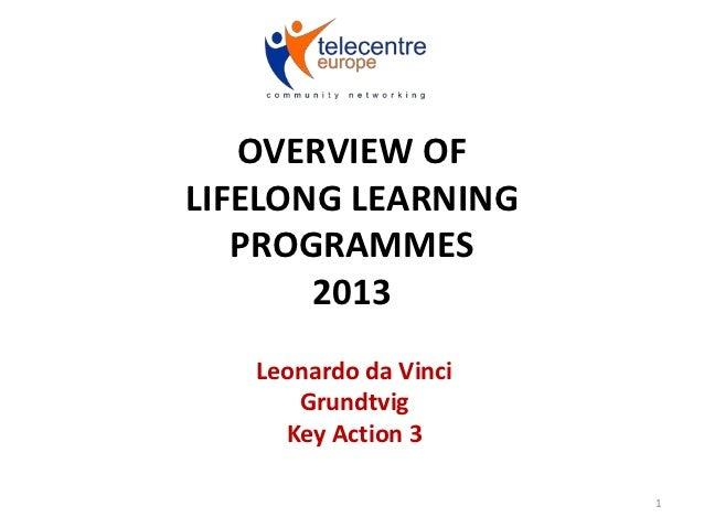 OVERVIEW OFLIFELONG LEARNING   PROGRAMMES       2013   Leonardo da Vinci      Grundtvig     Key Action 3                  ...