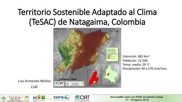 Territorio Sostenible Adaptado al Clima (TeSAC) de Natagaima, Colombia Luis Armando Muñoz CIAT Extención: 862 km2 Població...
