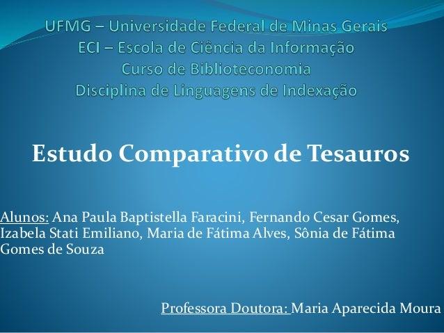 Estudo Comparativo de Tesauros Alunos: Ana Paula Baptistella Faracini, Fernando Cesar Gomes, Izabela Stati Emiliano, Maria...