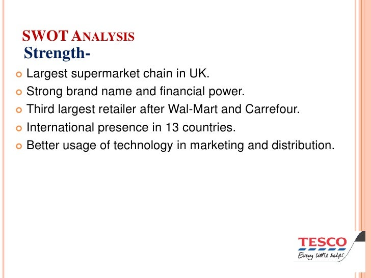 a strategic analysis of tesco A swot analysis of tesco is an analysis of the strengths, weaknesses, opportunities and threats affecting the company swot analysis - strengths.