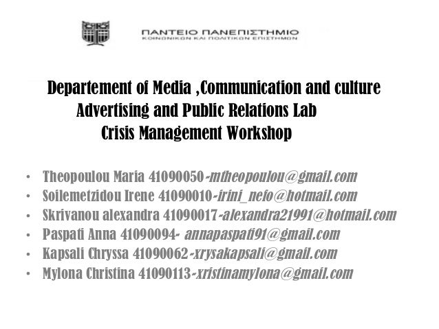 Departement of Media ,Communication and culture       Advertising and Public Relations Lab           Crisis Management Wor...