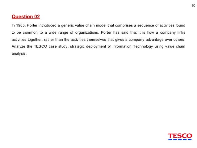 research question for tesco The interview questions were developed in accordance with research aims, objectives and overall research questions in the field of critical analysis of the relationship between customer satisfaction and customer loyalty at tesco plc, uk.