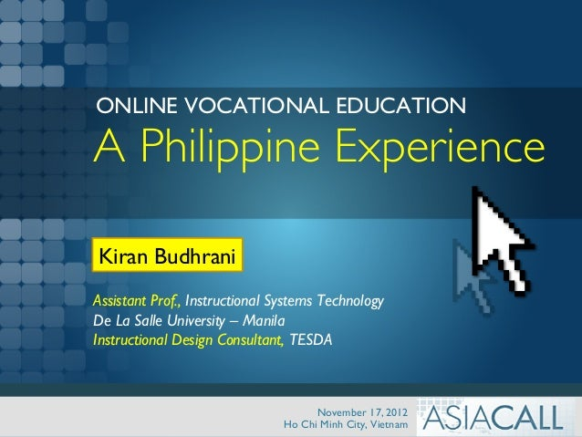 TVET Education Online - A Philippine Experience with TESDA