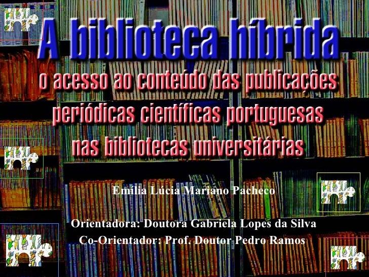 Emília Lúcia Mariano Pacheco Orientadora: Doutora Gabriela Lopes da Silva Co-Orientador: Prof. Doutor Pedro Ramos