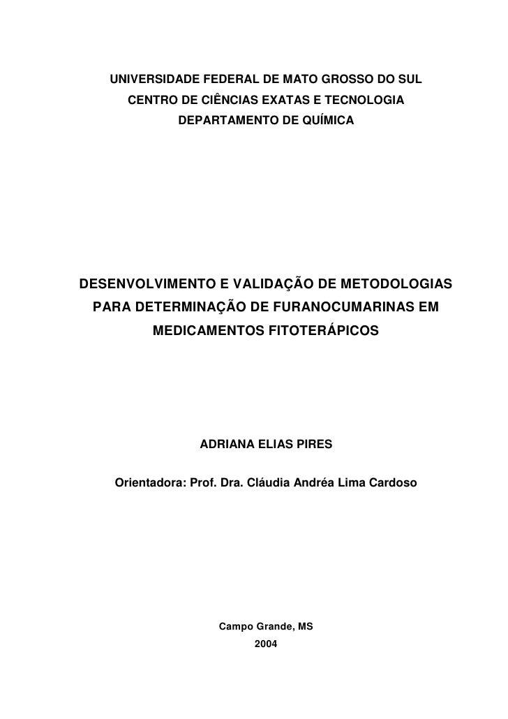 UNIVERSIDADE FEDERAL DE MATO GROSSO DO SUL       CENTRO DE CIÊNCIAS EXATAS E TECNOLOGIA               DEPARTAMENTO DE QUÍM...