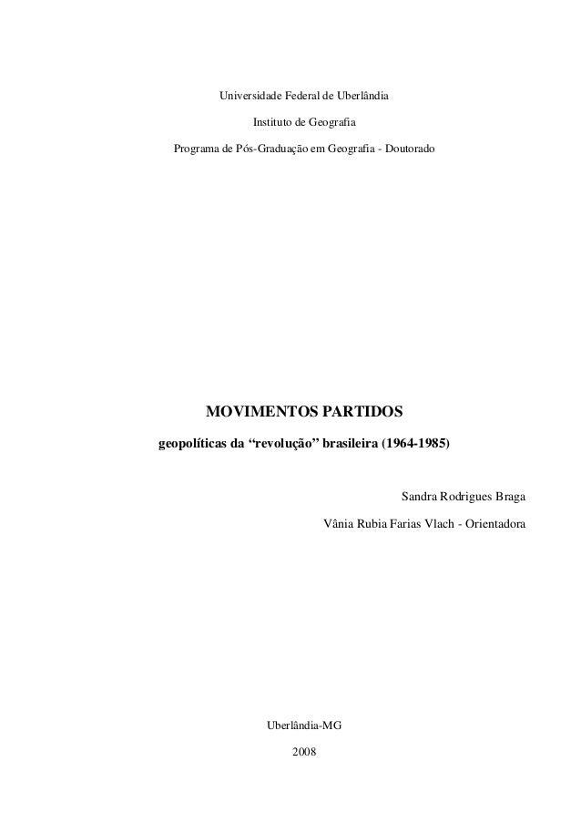 Universidade Federal de Uberlândia                 Instituto de Geografia  Programa de Pós-Graduação em Geografia - Doutor...