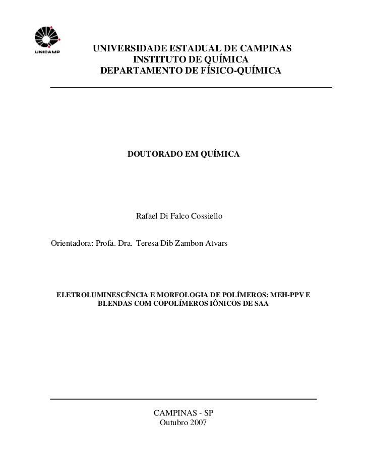 UNIVERSIDADE ESTADUAL DE CAMPINAS                  INSTITUTO DE QUÍMICA             DEPARTAMENTO DE FÍSICO-QUÍMICA        ...