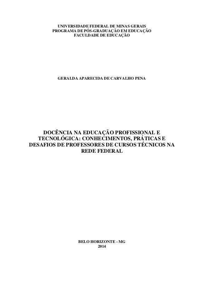 UNIVERSIDADE FEDERAL DE MINAS GERAIS PROGRAMA DE PÓS-GRADUAÇÃO EM EDUCAÇÃO FACULDADE DE EDUCAÇÃO GERALDA APARECIDA DE CARV...
