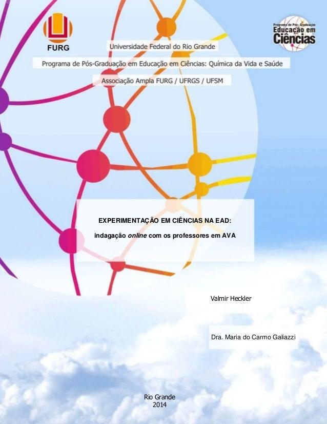 t EXPERIMENTAÇÃO EM CIÊNCIAS NA EAD: indagação online com os professores em AVA Valmir Heckler Dra. Maria do Carmo Galiazz...