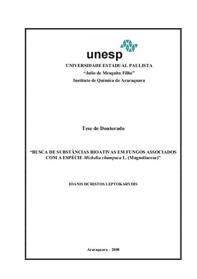 """UNIVERSIDADE ESTADUAL PAULISTA """"Julio de Mesquita Filho"""" Instituto de Química de Araraquara Tese de Doutorado """"BUSCA DE SU..."""