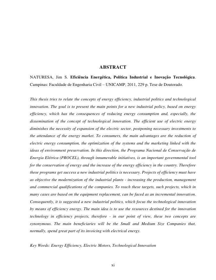 ABSTRACTNATURESA, Jim S. Eficiência Energética, Política Industrial e Inovação Tecnológica.Campinas: Faculdade de Engenhar...