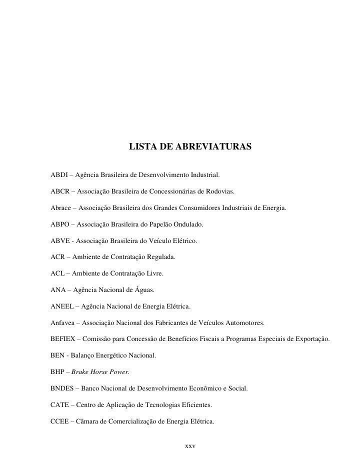 LISTA DE ABREVIATURASABDI – Agência Brasileira de Desenvolvimento Industrial.ABCR – Associação Brasileira de Concessionári...