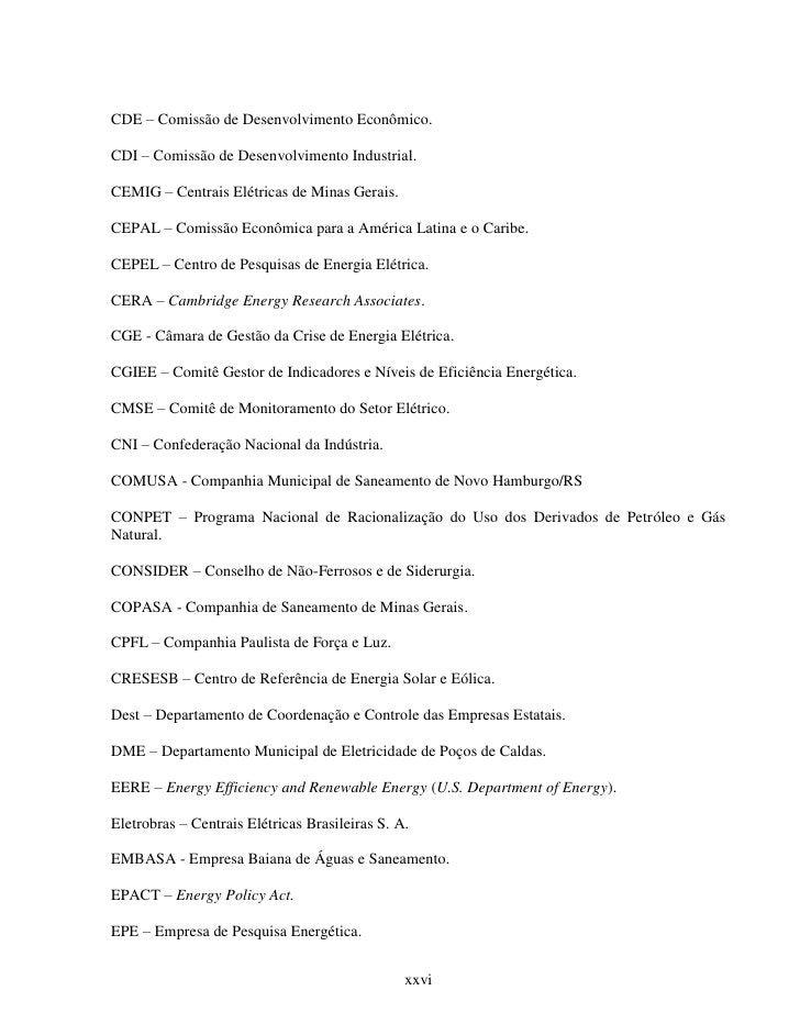 CDE – Comissão de Desenvolvimento Econômico.CDI – Comissão de Desenvolvimento Industrial.CEMIG – Centrais Elétricas de Min...