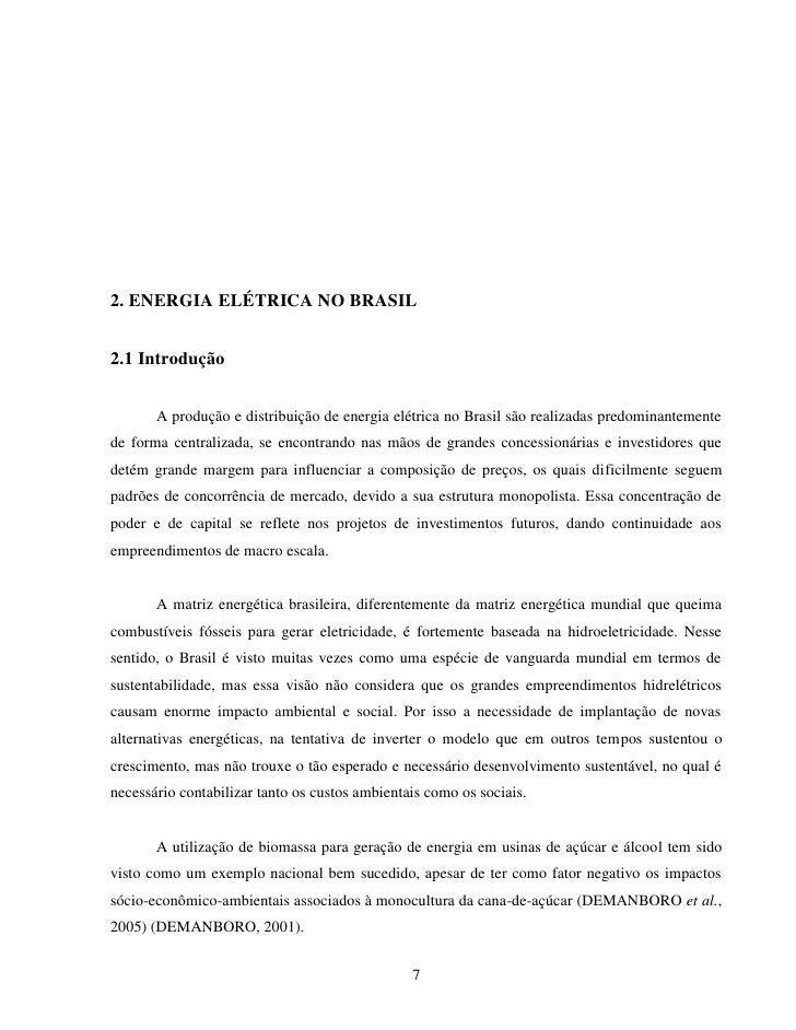 2. ENERGIA ELÉTRICA NO BRASIL2.1 Introdução       A produção e distribuição de energia elétrica no Brasil são realizadas p...
