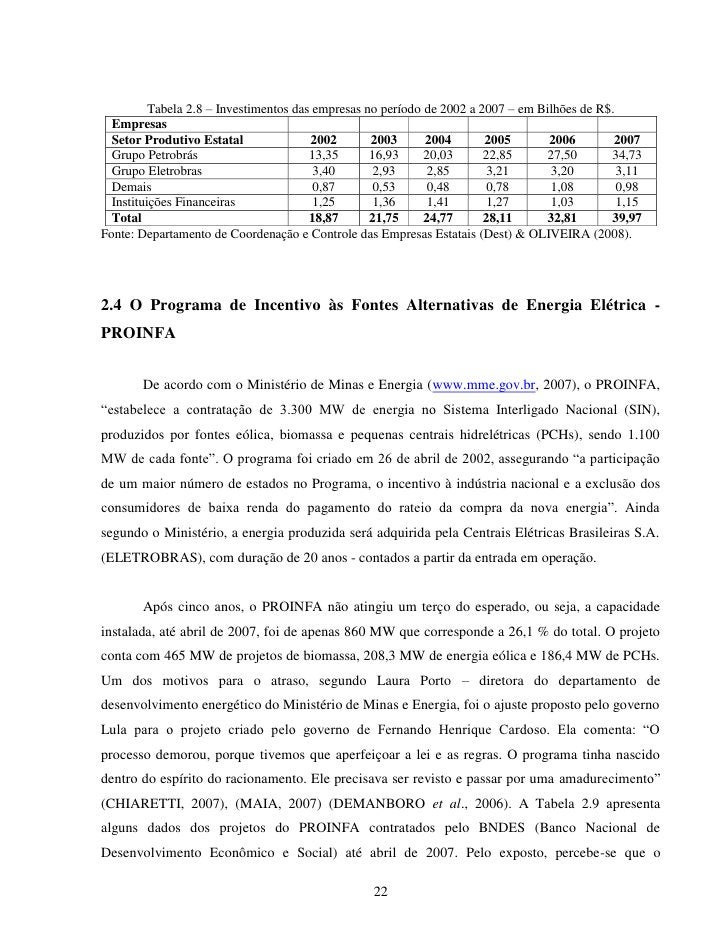 Tabela 2.8 – Investimentos das empresas no período de 2002 a 2007 – em Bilhões de R$.  Empresas  Setor Produtivo Estatal  ...