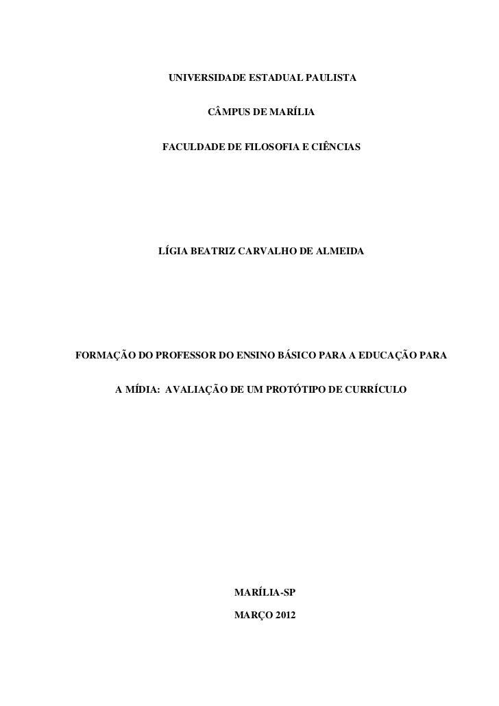 UNIVERSIDADE ESTADUAL PAULISTA                    CÂMPUS DE MARÍLIA             FACULDADE DE FILOSOFIA E CIÊNCIAS         ...